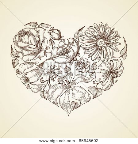 Heart of flowers graphic icon