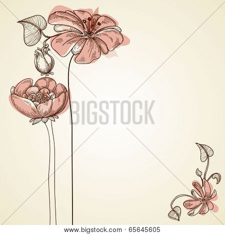 Flowers design for greeting cards