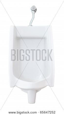 Front of urinal with flush valve on white background.