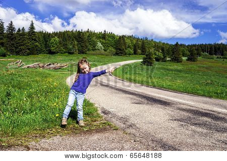 Hitch-hiking By Cute Little  Girl