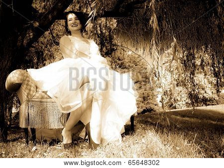 Young bride having fun in black and white