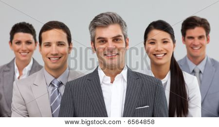 Multi-ethnic Business Team Standing Together