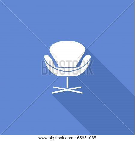 Flat long shadow office chair icons