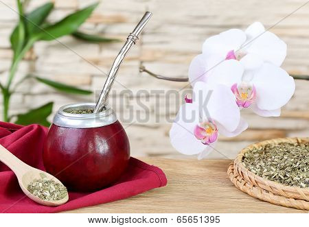 Tea Mate In The Calabash And Orchid