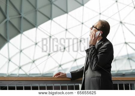 Businessman In Formal Wear Talking On Phone
