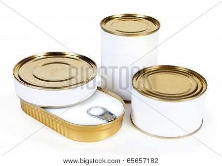 Three different unopened cans isolated on white