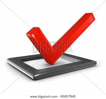checkmark in checklist isolated on white background