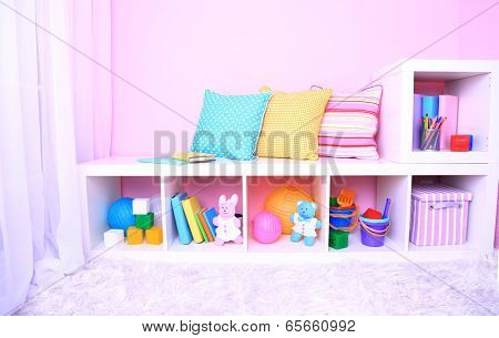 Interior of classroom in pink tones at school