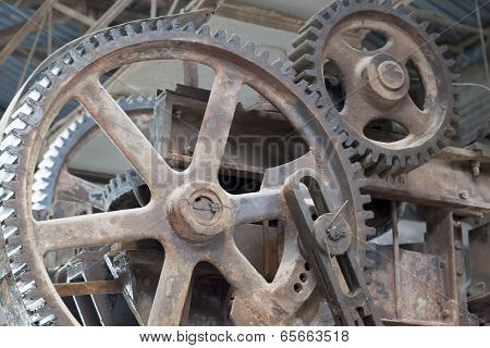 Close-up of cog wheels of a machine