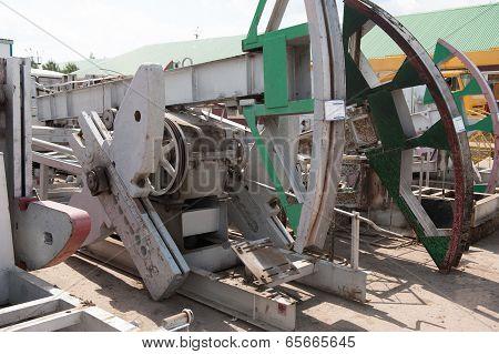 Warehouse Old Oil Pump Jacks
