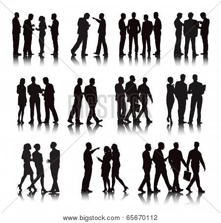 Vector of multi-ethnic business people.