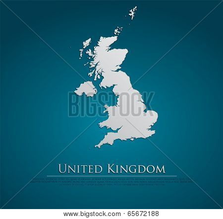 vector United Kingdom Map card paper on blue background, high detailed