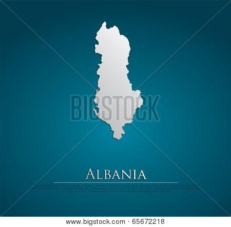 vector Albania Map card paper on blue background, high detailed