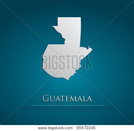 vector Guatemala Map card paper on blue background, high detailed