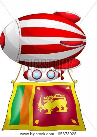 Illustration of a floating balloon travelling with the flag of SriLanka on a white background