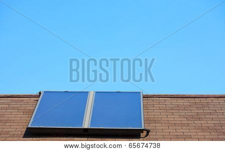 Renewable Energy. Solar Panel On Roof.
