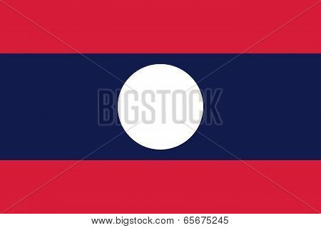 Flag Of Laos - Lao People's Democratic Republic