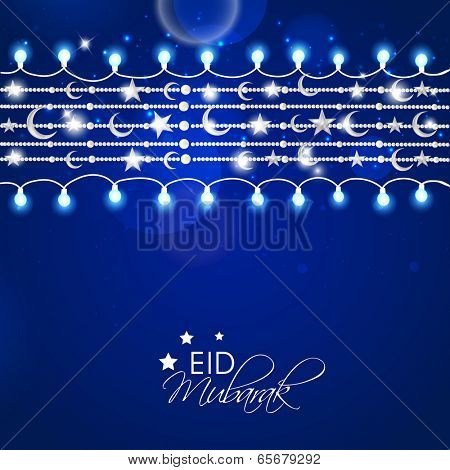 Greeting card design for Muslim community festival Eid Mubarak celebrations.