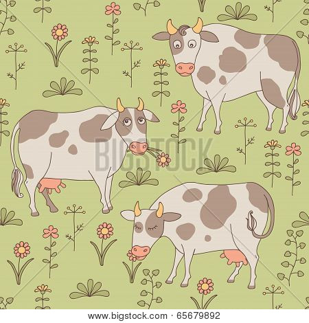 Seamless texture with cows, bull and flowers in the style of car