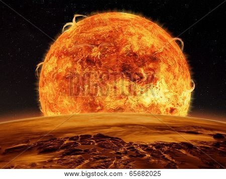 Alien Planet fantasy space scene of a sun