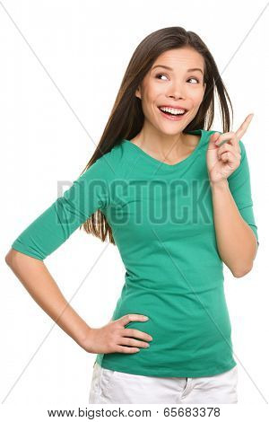 Woman thinking having idea. Casual female having eureka moment after thinking with hand on chin. Beautiful multiracial Caucasian / Asian Chinese girl isolated on white background.