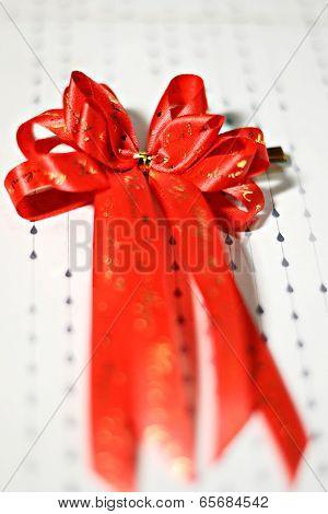Decoration Red Glossy Ribbon Bow On Ribbon Print Word Valentine