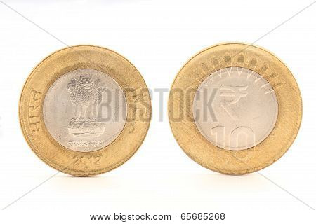Indian ten rupee coin both sides
