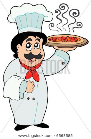 Cartoon chef holding pizza