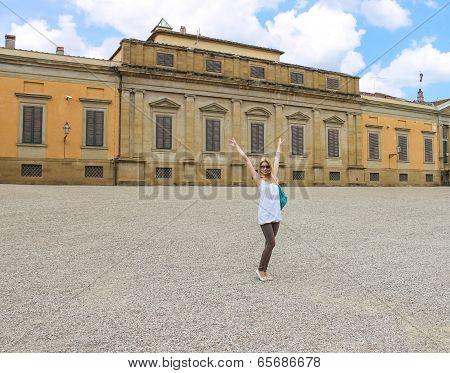 Attractive Girl Near The Palazzo Pitti In The Boboli Gardens, Florence, Italy