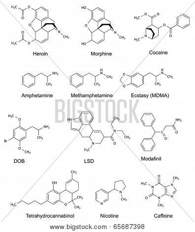 The Chemical Structural Formulas Of Some Drugs