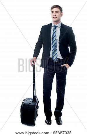 Young Business Man Holding A Trolley Bag