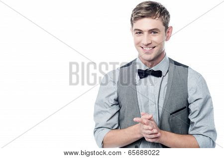 Business Man With Clasped Hands