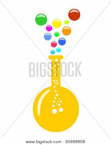 Abstract Round Bottom Chemical Flask With Vapor