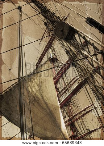 Masts of old-time sail ship.