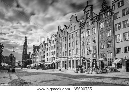 GDANSK, POLAND - 13 MAY: The Long Lane street in black and white, Gdansk on 13 May 2014. Baroque architecture of the Long Lane is one of the most notable tourist attractions of the city.