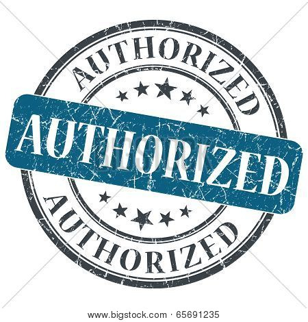 Authorized Blue Round Grungy Stamp Isolated On White Background