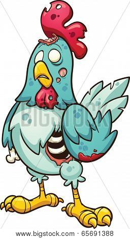 Cartoon zombie chicken. Vector clip art illustration with simple gradients. All in a single layer.