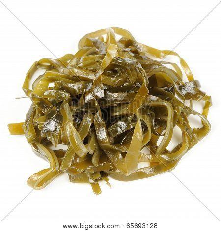 Pickled Kelp (laminaria) Seaweed Isolated On White Background