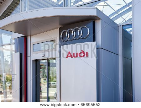 Samara, Russia - May 24, 2014: The Emblem Audi On The Office Of Official Dealer. Audi Ag Is A German