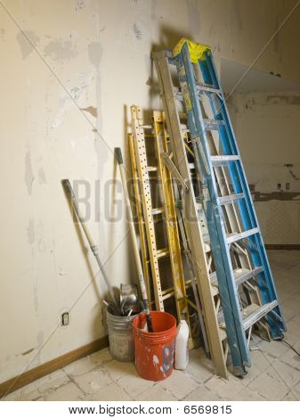 ladders and scafolding in gutted kitchen
