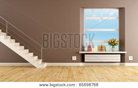 Brown Living Room With Staircase