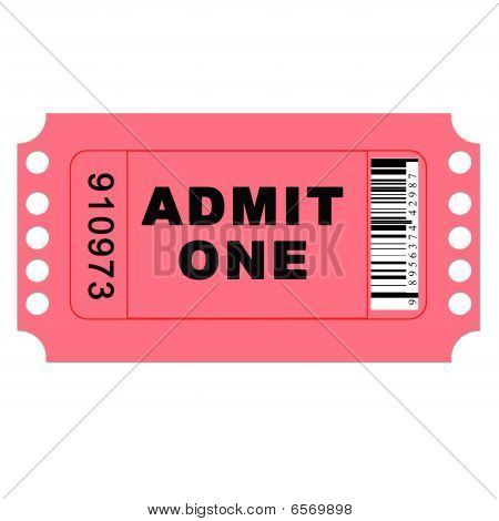 Isolated Admit One Ticket