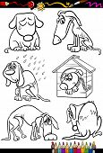 foto of emaciated  - Coloring Book or Page Cartoon Illustration of Black and White Poor Sad Homeless Stray Dogs Set for Children - JPG