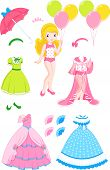 stock photo of negligee  - Princess paper doll with clothes and accessories - JPG