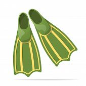 stock photo of flipper  - Green flippers for diving - JPG