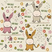 image of burro  - babies hand draw seamless pattern with burros - JPG