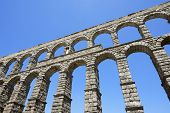 stock photo of aqueduct  - view of the aqueduct of Segovia - JPG