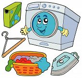 picture of washing machine  - Laundry collection on white background  - JPG