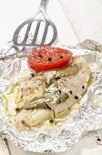 picture of pangasius  - baked pangasius with pepper and tomato in tin foil - JPG