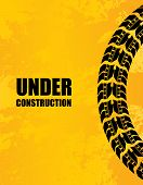 stock photo of skid  - under construction background with special black tire design - JPG